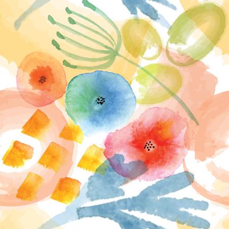 Moderne bloemen naadloze patroon in aquarel techniek.