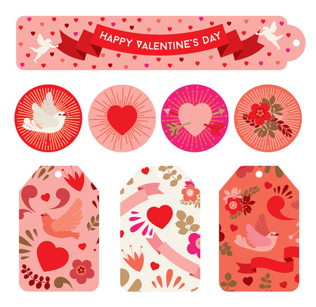 Set of labels to celebrating Valentine`s day in red shades.
