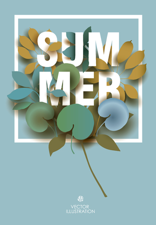 Summer card with elements of plants on blue background. Beautiful Design for Poster, Banner