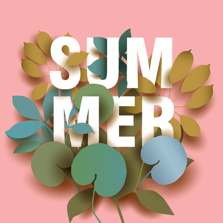 Summer Card with elements of plants on pink background. Beautiful Design for Poster, Banner Illustration