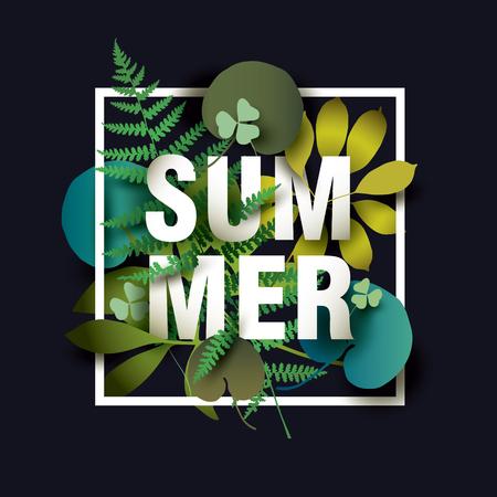 Summer card with elements of plants on dark background. Design for Poster, Banner Illustration