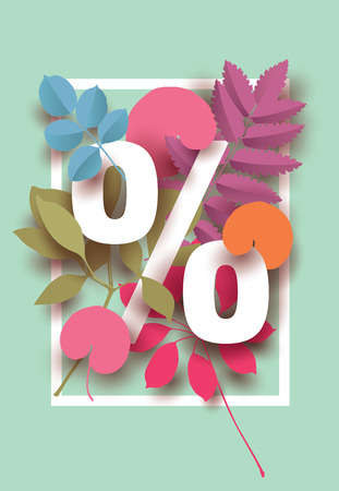 Spring- Summer Discount card with different plant elements for design your sale poster, banner Illustration