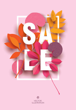 Sale card with different elements of plants in shades of red. Design for Sale Poster, Banner