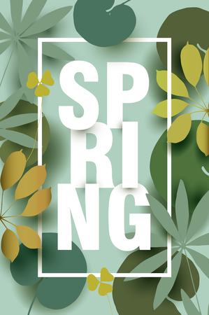 Spring card with different elements of plants in shades of green. Colorful illustration for your banner, poster