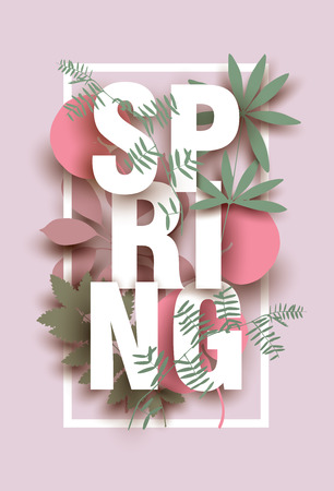 Spring card with different floral elements on pink background. Colorful illustration for your banner, poster