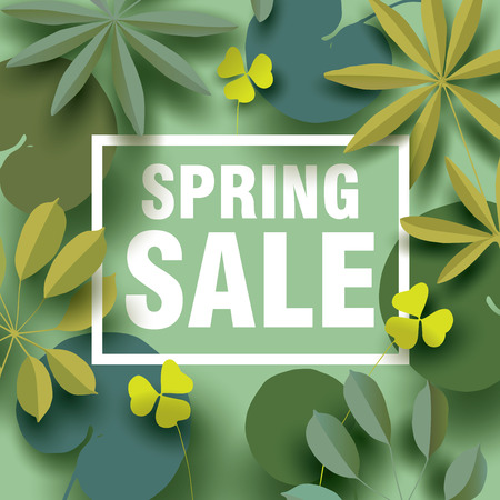 Spring sale card with different elements of plants in shades of green. Design for Spring Sale Poster, Banner
