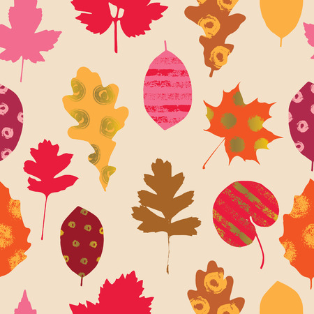 Autumn seamless pattern. Colorful illustration with different decorative leaves. Illustration