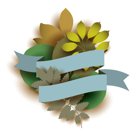 Illustration with blue ribbon and leaves. Greeting card design