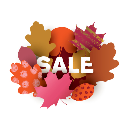 SALE illustration with colorful autumn leaves