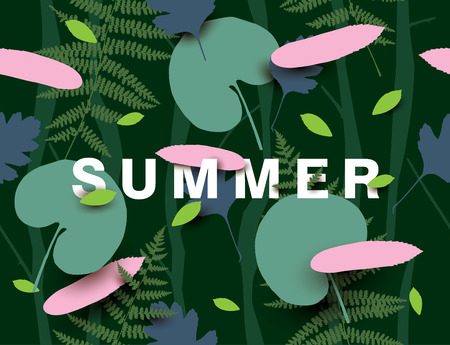 falling feather: Summer background with different leaves. Modern illustration with falling leaves in the dark forest.