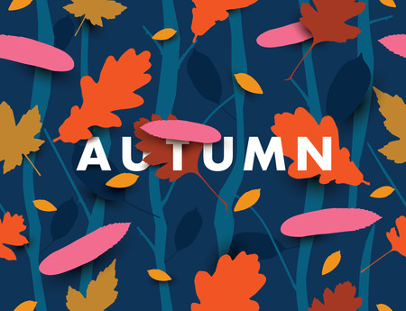 Autumn illustration with falling leaves in the dark forest