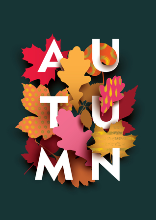 Autumn card with different plant elements on dark background. Illustration