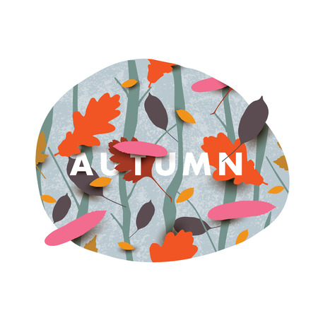 Autumn illustration with different falling leaves in the forest. Illustration