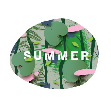 falling feather: Summer illustration with different leaves. Modern illustration with falling leaves in the forest.