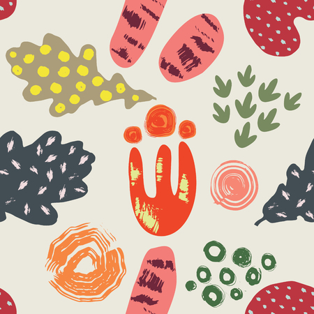 Beautiful seamless pattern with abstract leaves and flowers. Baby application style. Illustration