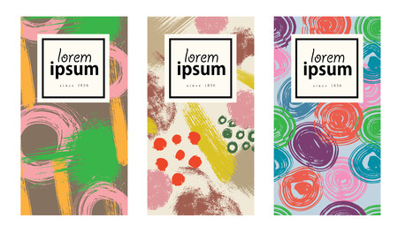 Set of colorful cards with abstract hand drawn textures. Design for packing, poster, card, invitation, brochure, flyer, label. Vector.