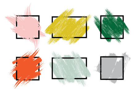 Set of colorful hand painted brush strokes with rough edges. Vector illustration.