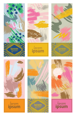 Set of colorful cards with abstract hand drawn textures. Design for packing, poster, card, invitation, brochure, flyer, label. Vector