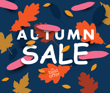 Autumn sale illustration with falling leaves on the dark background. Vector background. Illustration