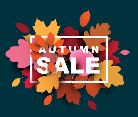 Autumn sale illustration with colorful leaves.