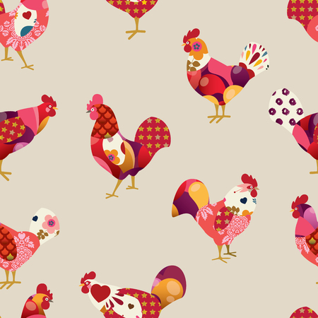 Seamless pattern with colorful roosters. Symbol of 2017 for packing, poster, card, invitation, brochure, flyer, label. Vector illustration