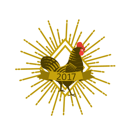 Rooster with sunburst. Engraving style. Logo, icon, greeting cards element for New Years r design. Symbol of new year 2017 .Chinese calendar. Vector illustration.