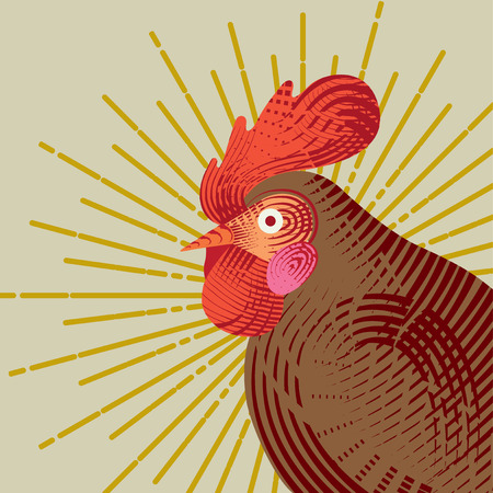 graphic icon: Rooster with graphic light ray. Engraving style. Logo, icon, greeting cards element for New Years r design. Symbol of new year 2017 .Chinese calendar. Vector illustration.