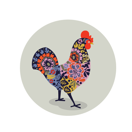 Vector illustration of rooster decorated with colorful floral pattern. Logo, icon, greeting cards elemen for New Years design. Symbol of new year 2017.Chinese calendar. Illustration