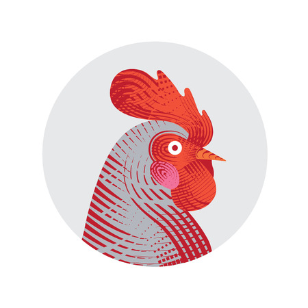 Vector illustration of rooster. Engraving style. Logo, icon, greeting cards element for New Years r design. Symbol of new year 2017.Chinese calendar.