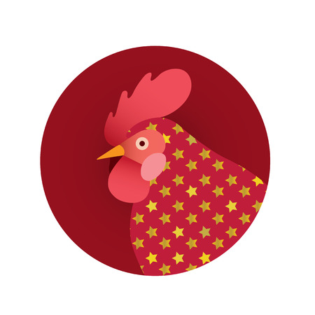 Vector illustration of red rooster.Symbol of new year 2017 .Chinese calendar.Logo, icon, greeting cards element for New Years r design.