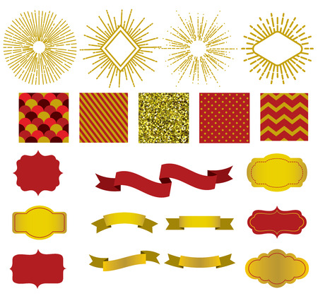 Golden collection of christmas patterns, sunburst, ribbons and labels.