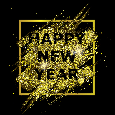 Happy New Year. Astract composition with gold glitter in the frame on black background. Design for card, flyer, poster, banner, web, header. Vector illustration.