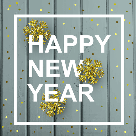 Happy New Year card with gold snowflakes and confetti on a background of wooden boards. Illustration