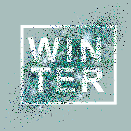 Winter card with glitter and glare. Design for Poster, Banner, Flyer. Vector illustration.
