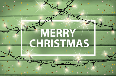 Merry Christmas card with glowing lights and confetti on a background of wooden boards. Vector illustration.