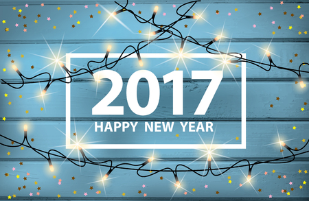 Happy New Year card with glowing lights and confetti on on a background of wooden boards. Vector illustration. Illustration