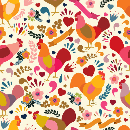 Roosters with floral elements. Vecrtor seamless pattern. Symbol of 2017 for packing, poster, card, invitation, brochure, flyer, label.