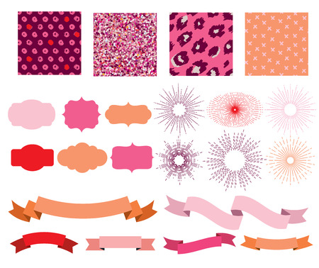 Set of patterns, sunburst, ribbons and labels in shades of pink. Illustration