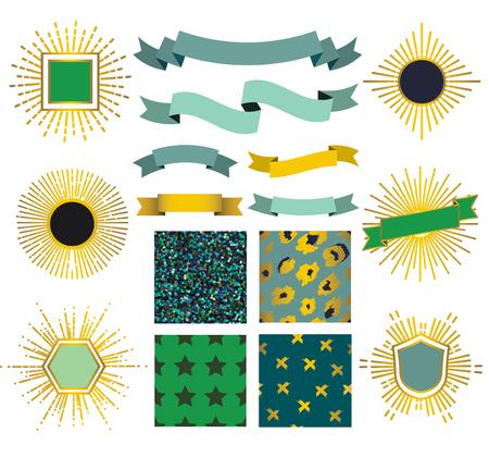 sunburst: Set of patterns, sunburst and ribbons in shades of emerald. Illustration