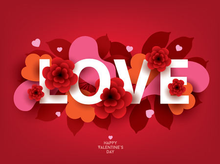 Composition with LOVE inscription and abstract florals elements. Colorful vector illustration for your banner, poster, flyer, brochure Illustration