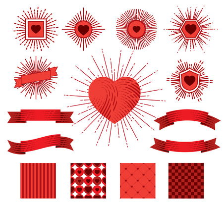 Set of sunburst, hearts, ribbons and patterns for celebrating Valentines Day.