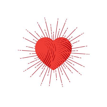 Red heart symbol with sunburst. Ingraved style. Illustration