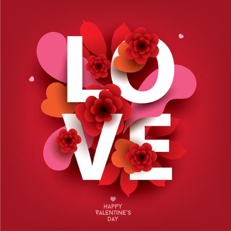 Composition avec inscription LOVE et éléments floraux abstraits. Illustration colorée pour votre bannière, affiche, dépliant, brochure.