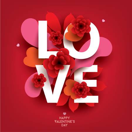 Kompozycja z napisem LOVE i elementami florystycznymi. Kolorowa ilustracja na swój sztandar, plakat, ulotka, broszura.