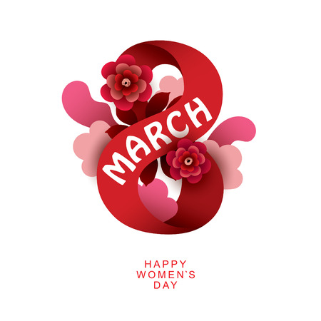 8 March Womens Day sign. Vector greeting card template.