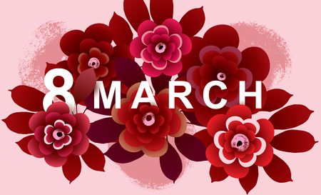 8 March Card with flowers. International Womens Day background. Vector illustration.