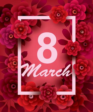bouquet fleur: Carte de jour de mars 8. Happy femmes avec des fleurs et cadre. Vecteur carte de voeux modèle. Illustration