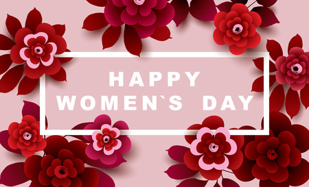 International Womens Day Card with flowers. 8 March deign. Vector illustration.