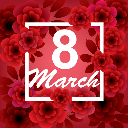 March 8. Happy Womens Day card with flowers on red background. Vector greeting card template.