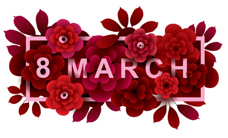 March 8. Happy Womens Day card with bouquet of flowers in frame. Vector greeting card template.